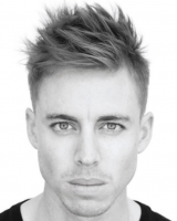 2015 mens hairstyle with full of spikes on the top head and bangs but clean straight short hair on the side.PNG