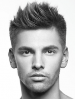 2015 men haircut with straight hair on the sides and bag with full volume of spikes on the top head and bangs.PNG