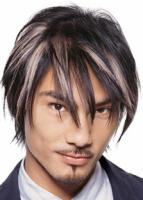Asian Medium layered Hair Style with very long bangs, highlight hair style