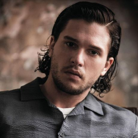 Kit Harington Photos With His Wavy Medium Hairstyle With Long Pulled