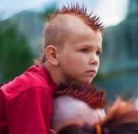 Cool kid mohawk with red spiky hair.JPG