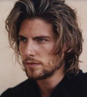 Mens long layered haircut and long side bangs gives you a hot sexy look.JPG