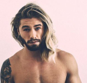 Mens unique haircut with cool long hair on one side and medium hair length on the ...