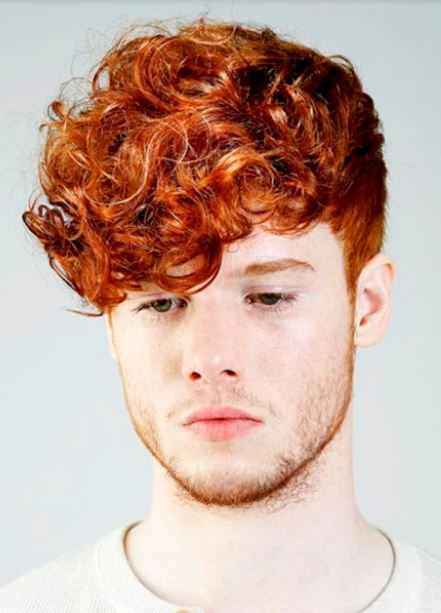 Men red hairstyle with curls bang and straight undercut hair.JPG