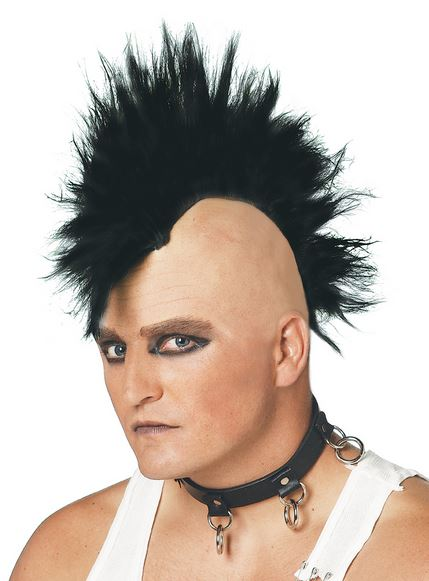 Wild punk men hairstyle with long spiky top with bald head on the sides