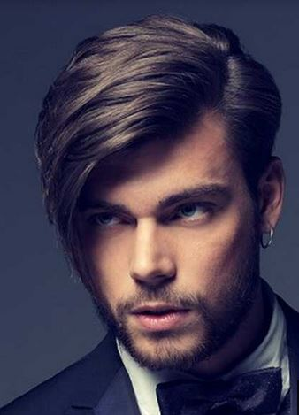 Modern Tuxeto Chic Hairstyle with Long Swept bang