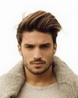 Mens sexy hairstyle with long swept bang