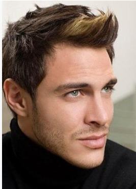 Sexy men haircuts with long spiky bangs and short in the back