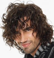 Sexy men curly hairstyle with light volume and long curly bangs.PNG