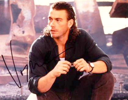 jean claude van damme with long small curly hair style