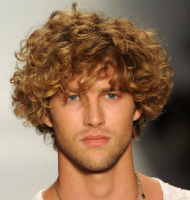 Trendy men curly haircuts with medium long length hair with long curly bangs.PNG
