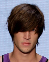 Hot 2013 men haircuts with layers and very long bangs overing the eye hairstyle with medium short hair length.PNG
