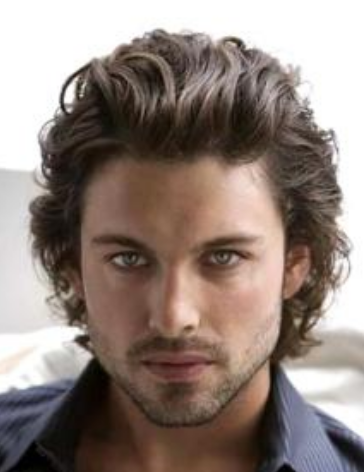 2013 hot men hairstyle medium length hair with wavies that give the full sexy volume with long wavy bangs pulled top back.PNG