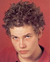Small curly men hairstyle with light brown