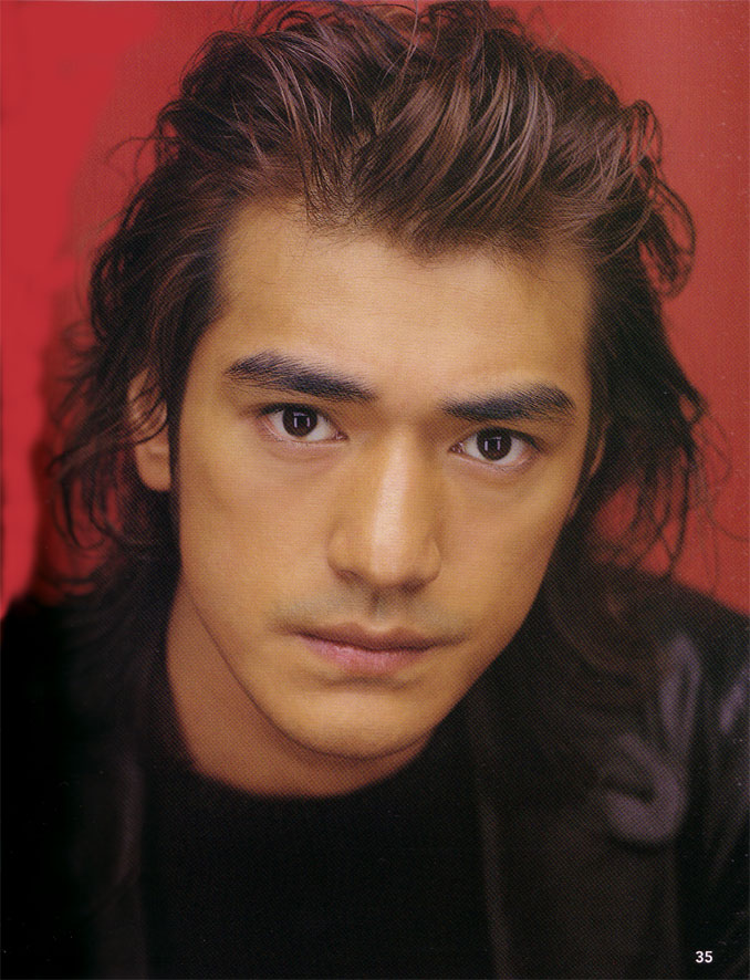 Takeshi Kaneshiro with long wavy hair style, brown