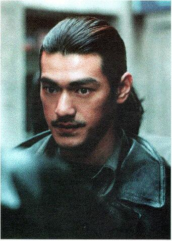 Takeshi Kaneshiro with long hair style, black
