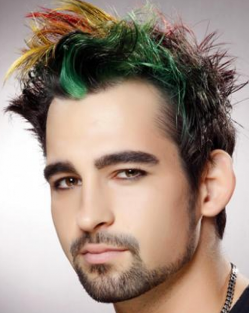 Mens Hairstyle With Highlights With Green Red And Yellow