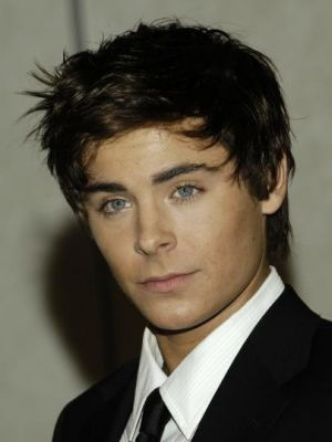 Zac Efron with dark hairstyle in spiky style.jpg