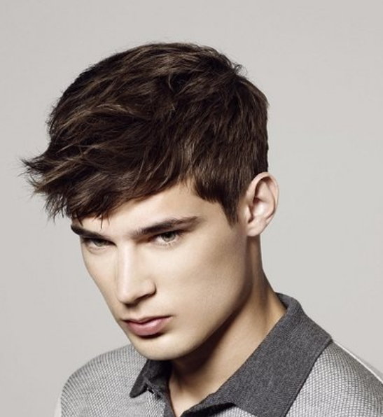 Trendy 2013 Men Hairstyle With Cool Wavy Bangs Short Hair LengthPNG 547x596
