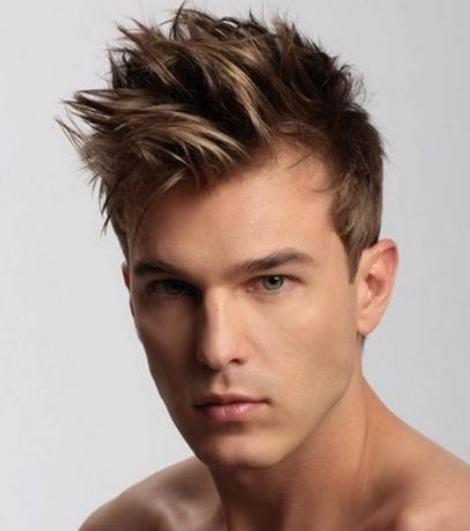 haircut w short hair length long spiky bangs cool blond men hairstyle ...