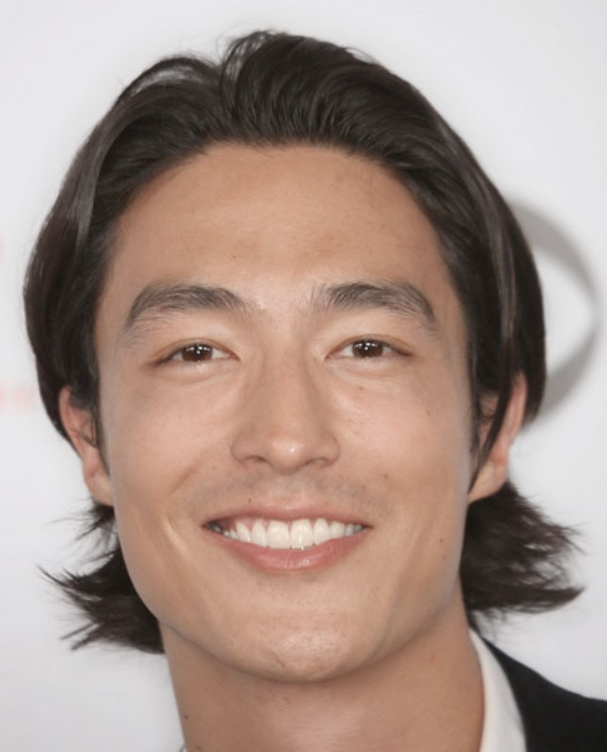 Picture of lovely Asian men long hairstyles w/ very long side bangs