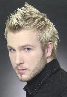 very cool Men's Short Hair Style with snow blonde with spikes