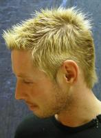 Bright blonde Men's Short Hair Style with spikes
