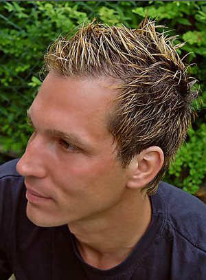 men's short hair style in blonde with gel 1 comment
