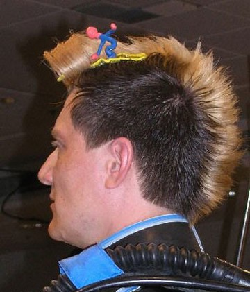 Photograph of men punky funky hairstylehair