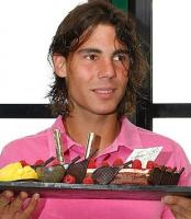 with wet hair Rafael Nadal celebrates his 21st birthday during the French Tennis Open.jpg