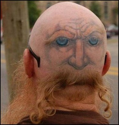 funny pictures eyes. Funny haircut and tattoo