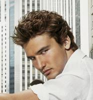 Sexy wavy Men's Medium Hair cut with light curls on the top