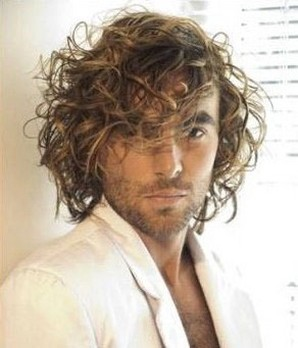 long medium messy curly hairstyle for men 2 comments