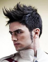 Stylish man hairstyle with spiky bang.jpg