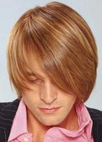 Men's Medium Hairstyle with long swept side bangs with high lights, brown brown with blonde lines