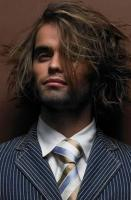 High light men long layered haircut with very long bang in two tones.JPG
