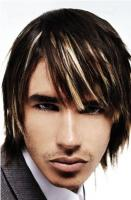 Side swept bangs hairstyle for men with two tones high lights.JPG