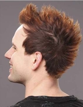Light punk funky men hairstyle with short length and spiky bang.JPG