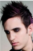 Men light punky haircut with spiky hair and pink high lights pictures.JPG