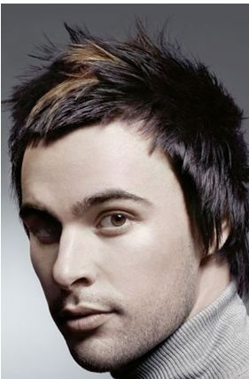 medium length men hairstyles. Two tone men funky haircut in