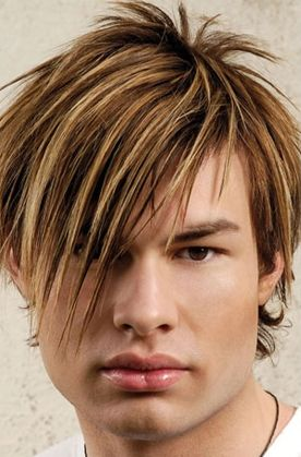 Trendy and cool men medium haircut with layered and high lights with very long side bangs.JPG