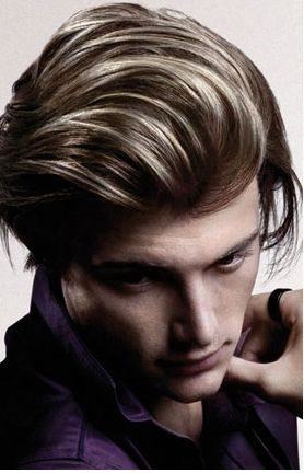 Men highlight hairstyle with layers and very long bangs gel to the back.JPG