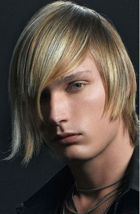 men hot medium haircut with layers and very long bangs with highlights lookingn very cut.JPG