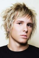 Wavy and spiky man hairstyle with full of layers and spiky swept bangs in blonde hair.JPG