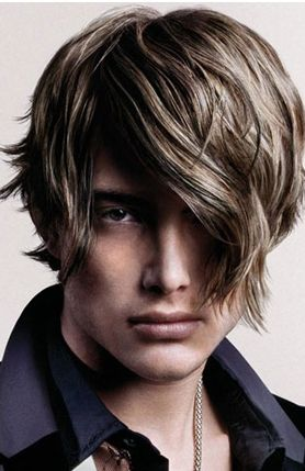 Medium young modern hairstyle with layers and highlights and very long bangs.JPG
