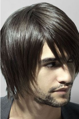 Brilliant Men Modern Medium Short Hairstyle With Very Long Layered Bangs Hairstyle Inspiration Daily Dogsangcom
