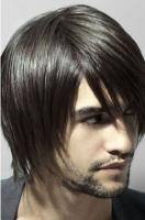Men modern medium short hairstyle with very long layered bangs looking very hot.JPG