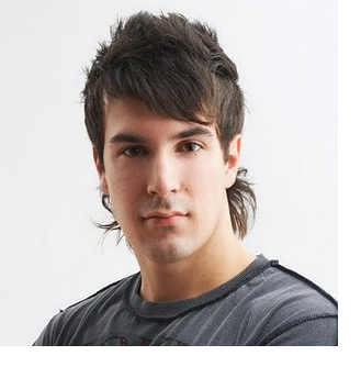 Picture of Men mullet hairstyles w/ long spiky bang w/ layers