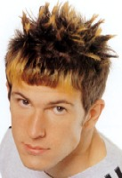 Short Spiky Hair Style with two toned, brown & orange red