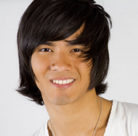 Trendy Asian men hairstyle picture with long swept bangs with layers in dark brown hair  color.PNG